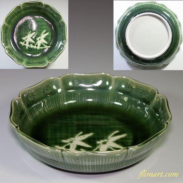 緑釉三島六寸鉢