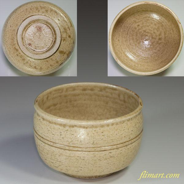 灰釉黄瀬戸抹茶碗W4350
