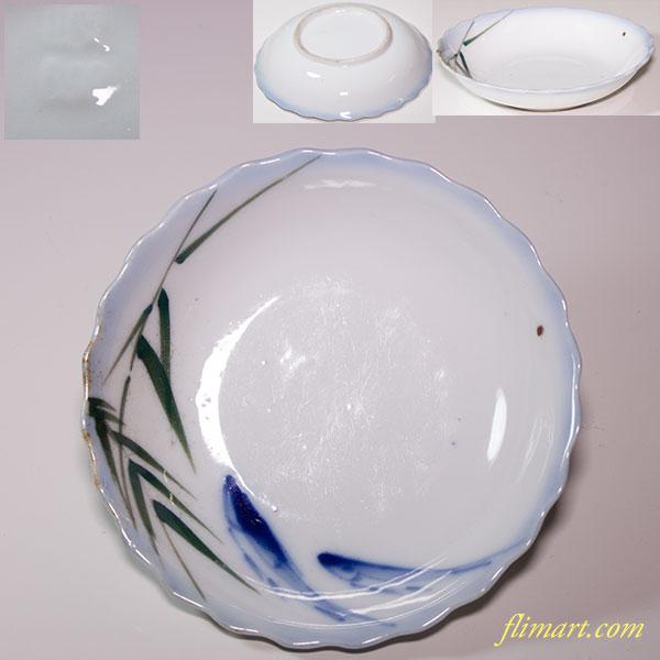 鮎笹図小皿W4371