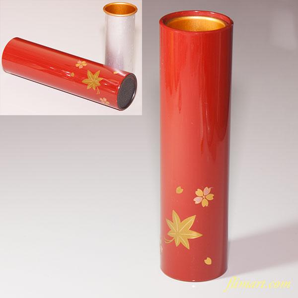 朱塗桜紅葉筒状花器