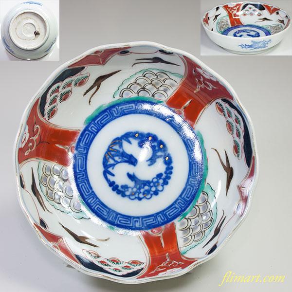 赤絵松竹梅膾皿W4379