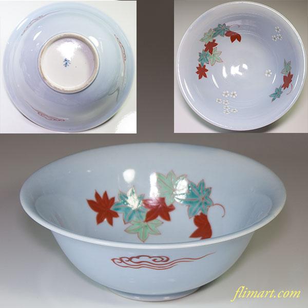 桜紅葉柄菓子鉢W4386