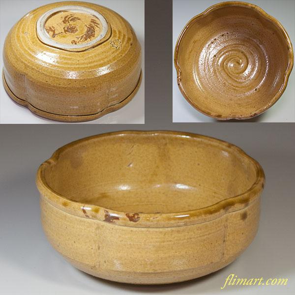 黄瀬戸梅型菓子鉢