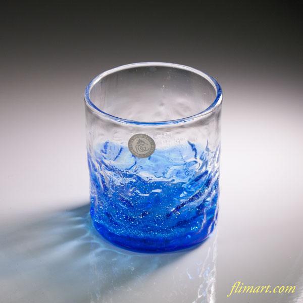 沖縄南蛮ビードロ琉球ガラスでこロックグラスW4448