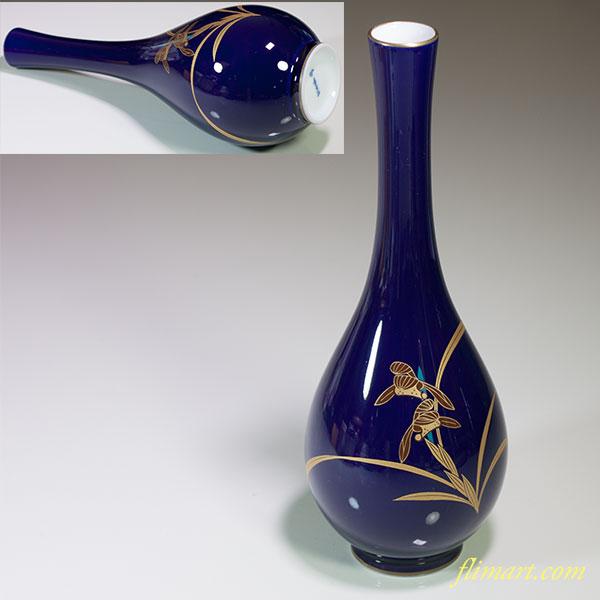香蘭社瑠璃蘭鶴首花瓶