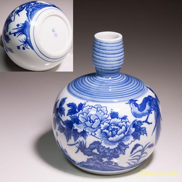 花鳥染付徳利花瓶W4566