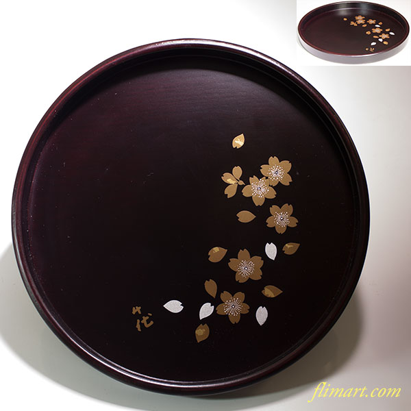宇野千代舞桜木製八寸丸盆