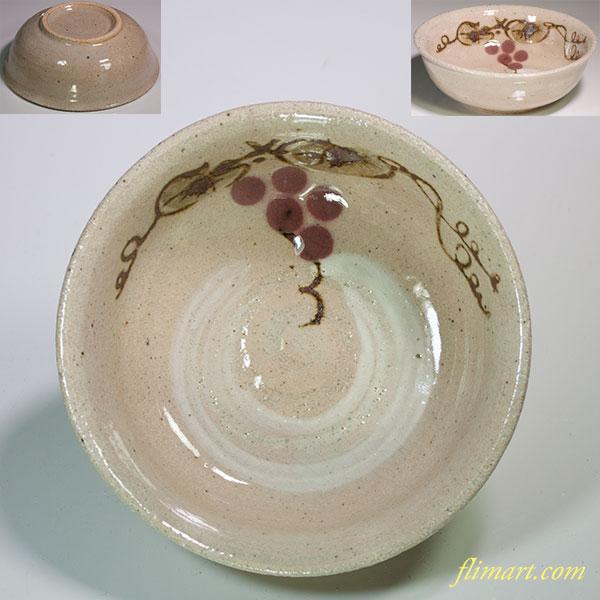 たち吉葡萄柄刷毛目小鉢
