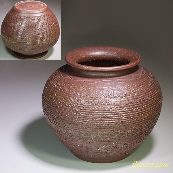 信楽焼明山花瓶W4522