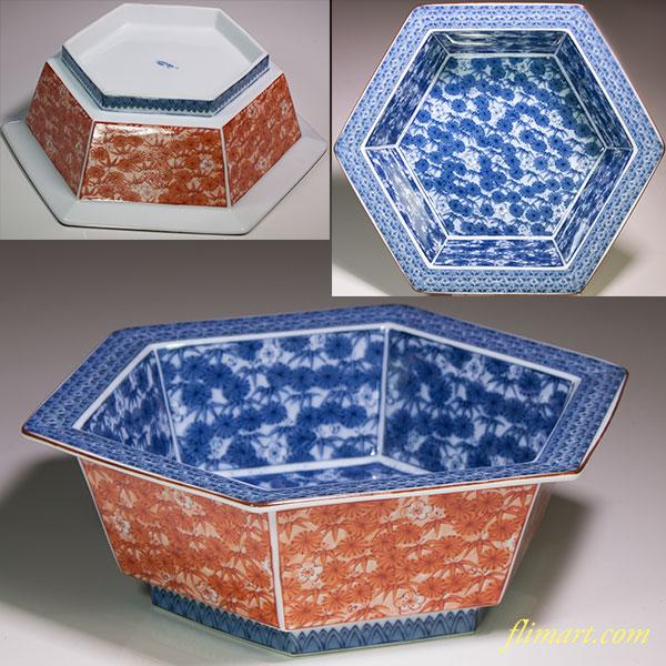 三洋陶器龍峯窯六角鉢