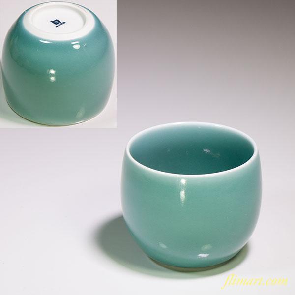 白山陶器青磁湯呑