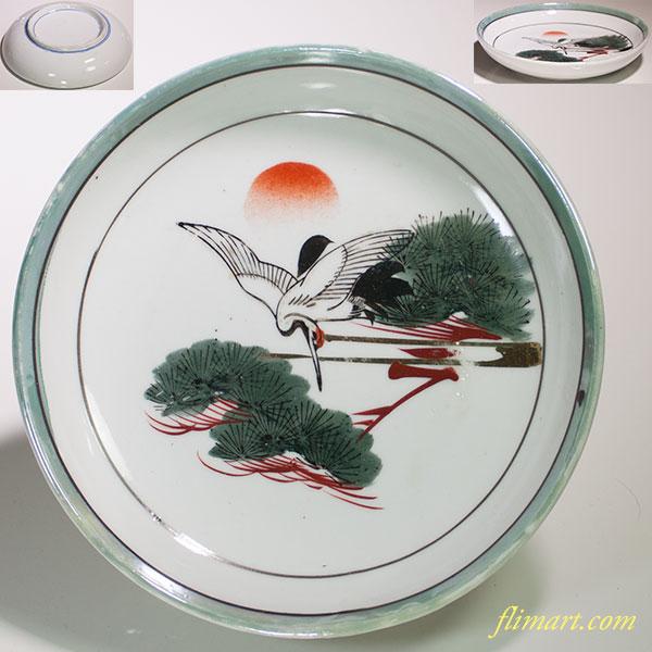 松鶴図六寸皿