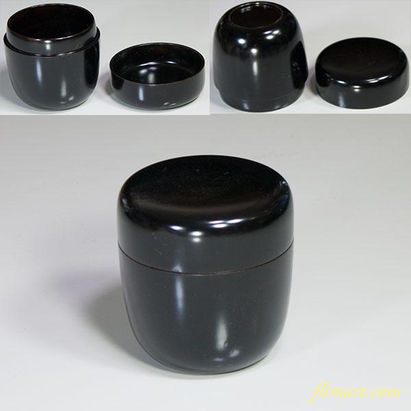 黒塗木製漆器棗W4697