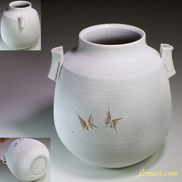 加藤釥蝶刻耳付花瓶