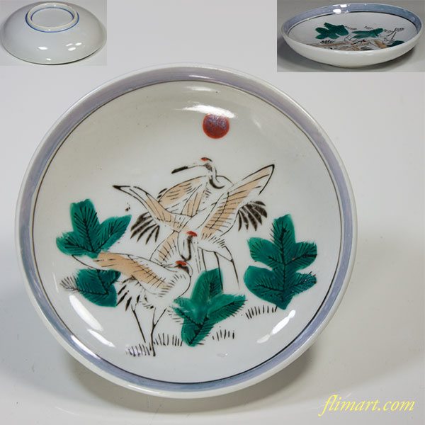 鶴豆皿W4798