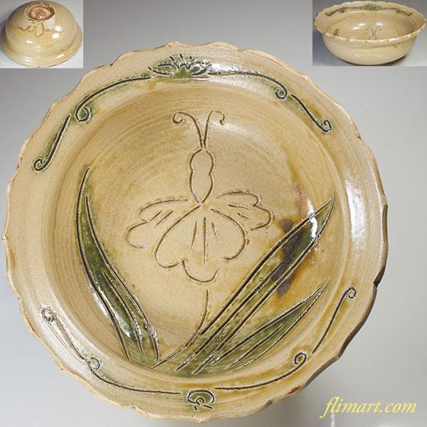 水野双鶴黄瀬戸菓子鉢