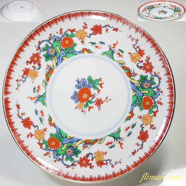 山京陶器赤絵六寸半皿
