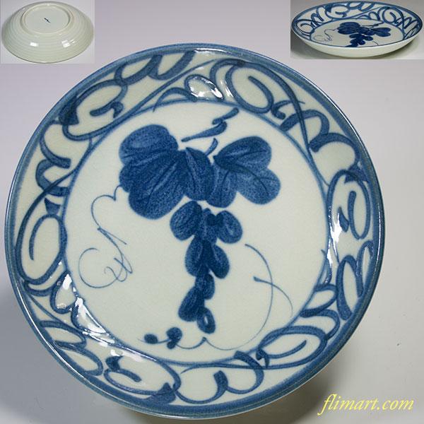 葡萄柄五寸半皿W4809