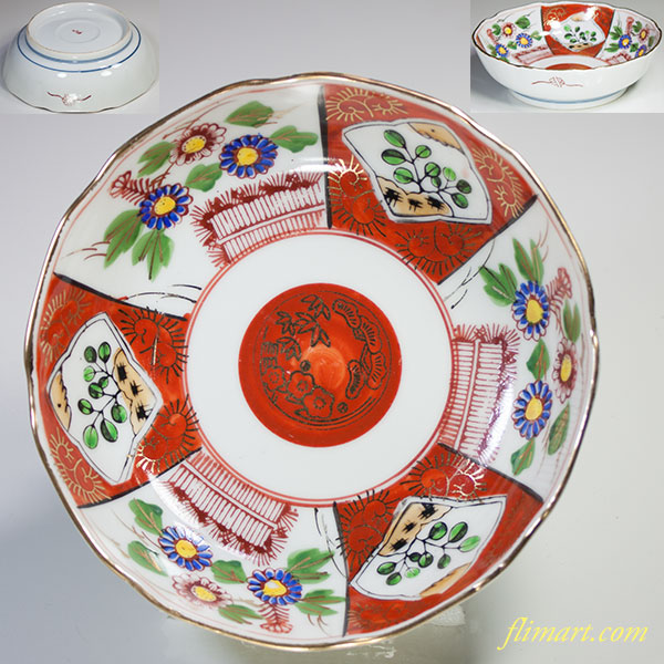 九谷赤絵金彩膾皿W4794