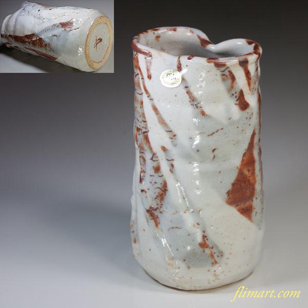 輝山作志野花瓶