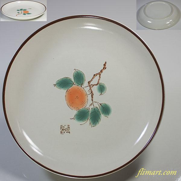 柿図六寸半皿W4843