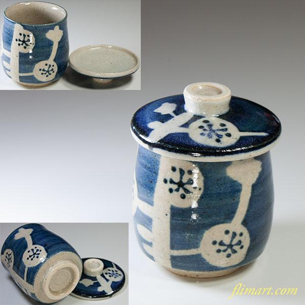 梅柄蓋付蒸茶碗