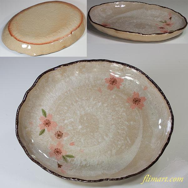 桜柄楕円皿