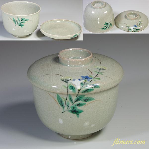 青磁桔梗蒸し茶碗W4912