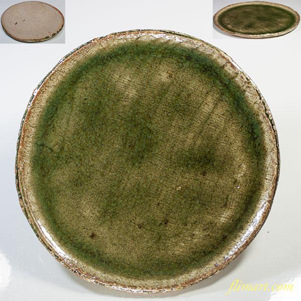 緑釉六寸半皿W4884