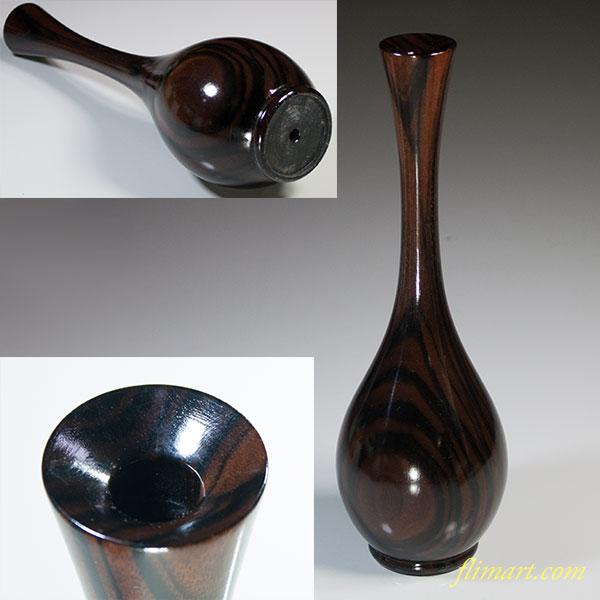 黒檀鶴首花瓶