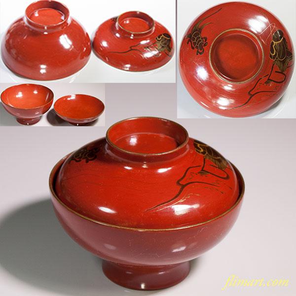 木製漆器朱塗吸物椀W4935