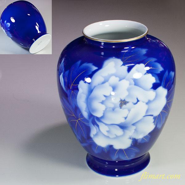 深川製磁瑠璃牡丹文花瓶