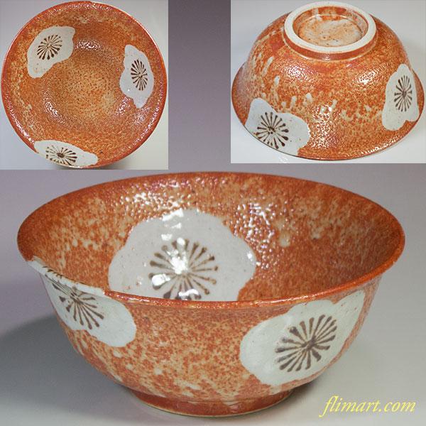 紅志野梅文菓子鉢W4945