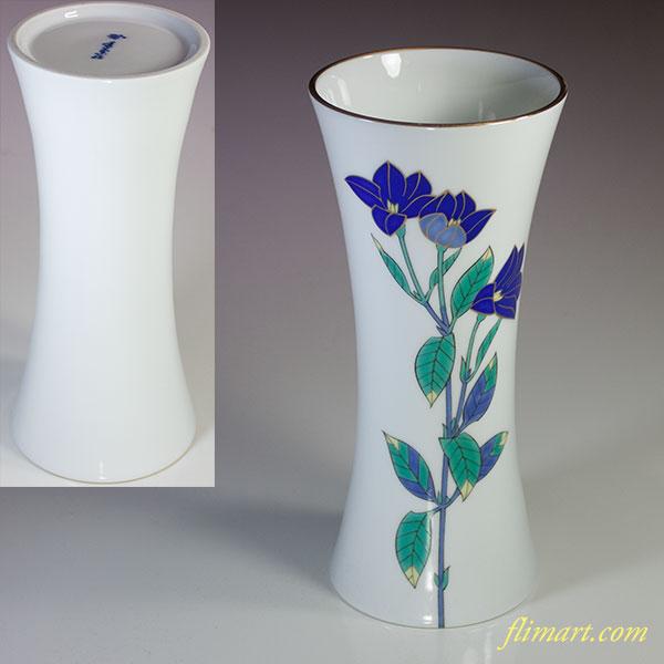 香蘭社色絵金彩桔梗文花瓶W4944