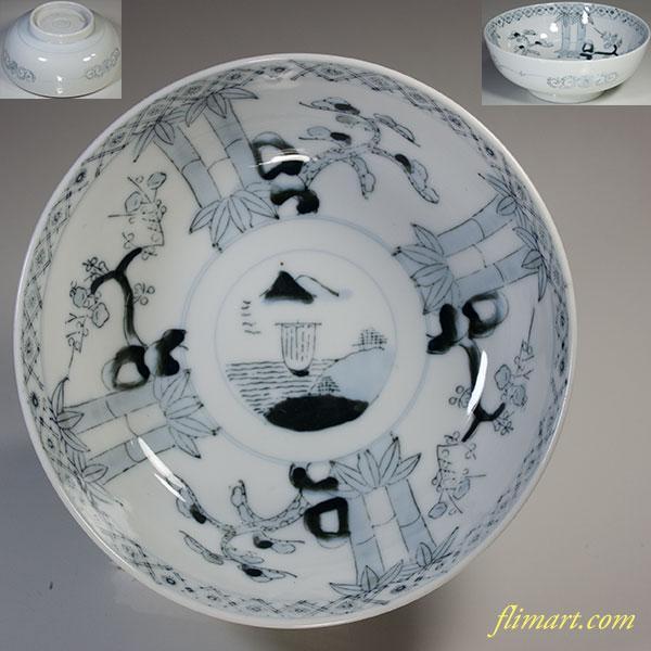松竹梅山水六寸鉢W4963