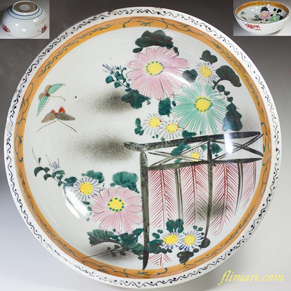 色絵花蝶一尺大鉢W4994