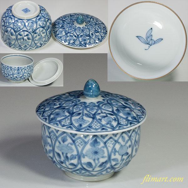 三洋陶器龍峰窯蓋付湯呑W5023