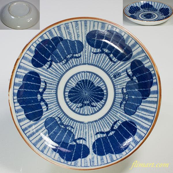 印判手松図五寸皿W5185