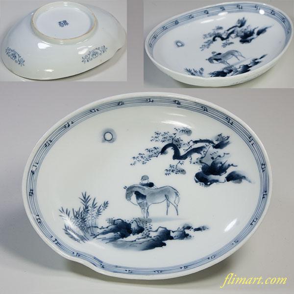 染付楕円皿W5110