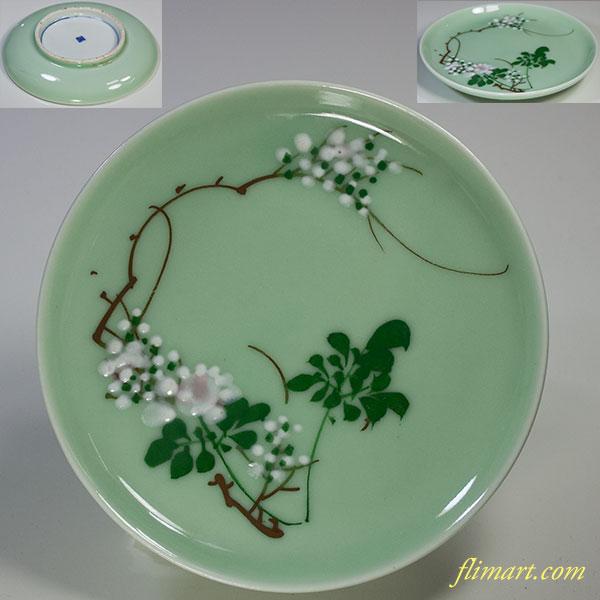 白青磁五寸皿
