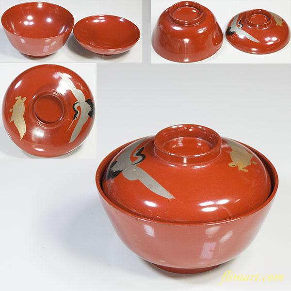 木製漆器鶴亀蓋付小椀