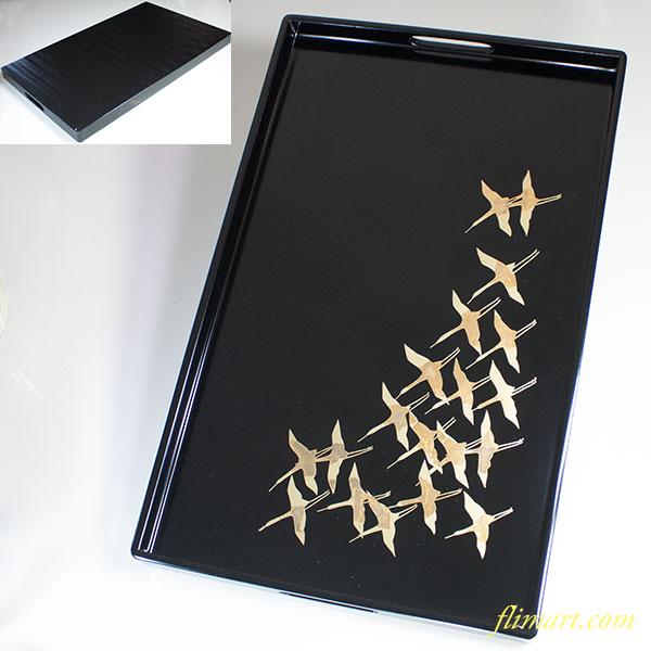 木製飛鶴長手盆