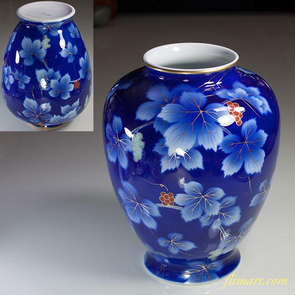 深川製磁呉須葡萄花瓶