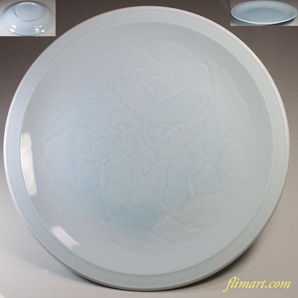 青白磁一尺大皿W5105