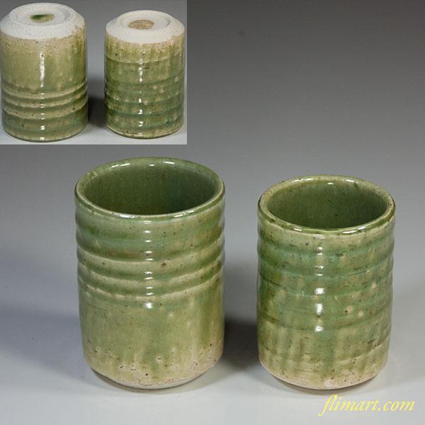 緑釉夫婦湯呑W5147
