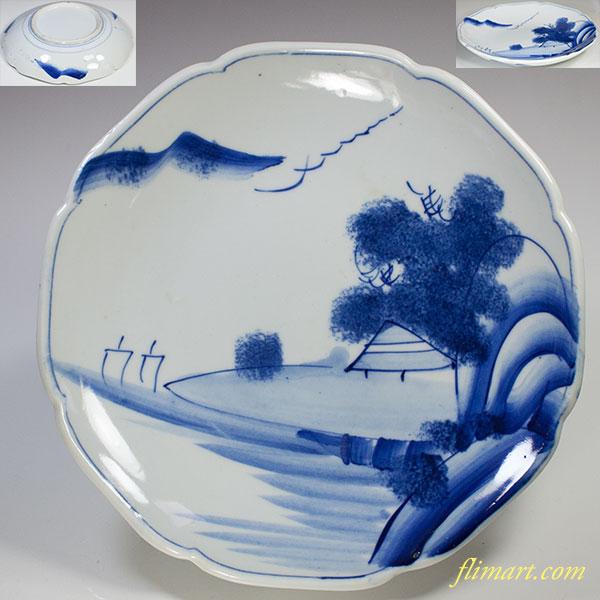 染付山水八寸皿W5179