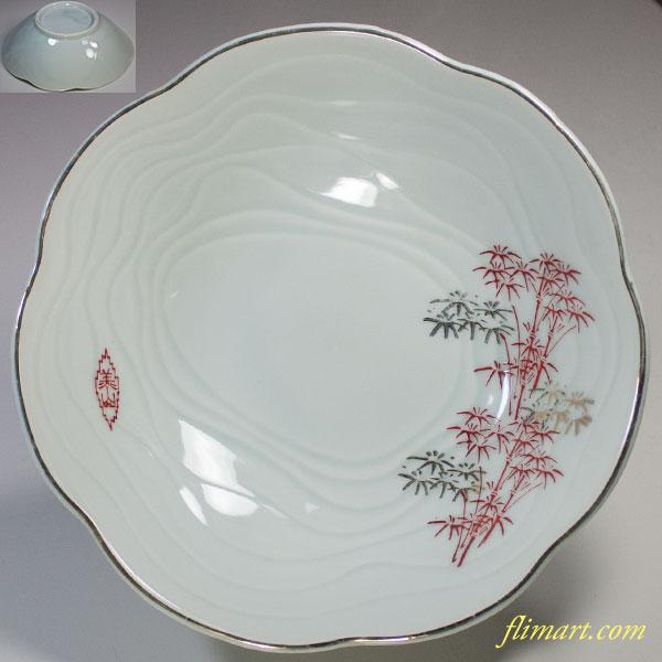 美山青白磁竹柄七寸鉢