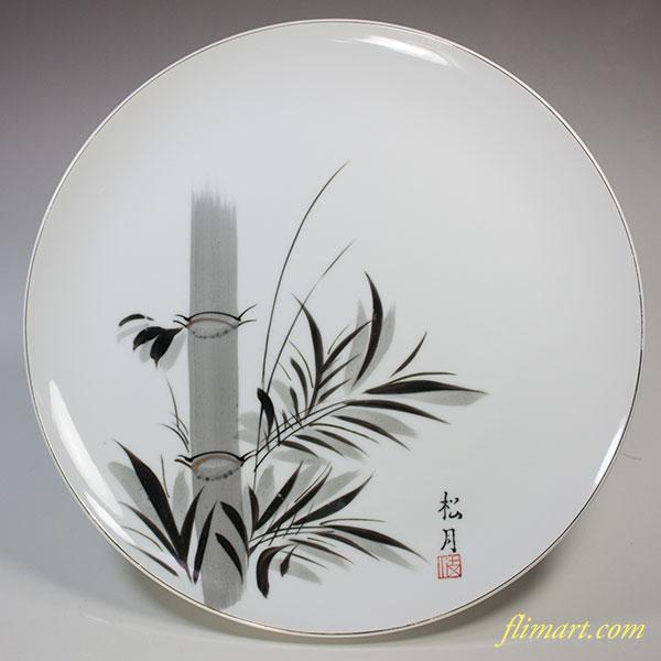 松月竹図八寸半飾皿W5189