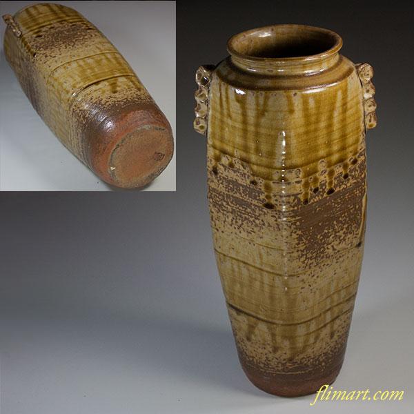 秘色窯耳付花瓶W5196