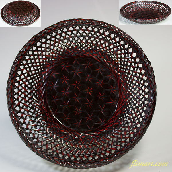紀州籃胎漆器竹製菓子器W5239
